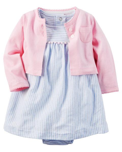 【美國Carter's】套裝2件組-氣質條紋包屁式洋裝+純棉小外套 121H129