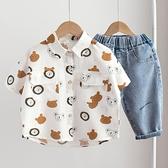 男童襯衫-男童短袖襯衫夏季2021新款兒童洋氣卡通襯衣寶寶童裝小童夏裝上衣