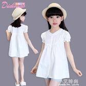 女童短袖t恤 2019新款兒童夏裝女孩白色上衣中長款大童純棉娃娃衫【小艾新品】