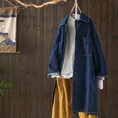 時尚大翻領中長版寬鬆牛仔外套休閒上衣/設計家Y5061