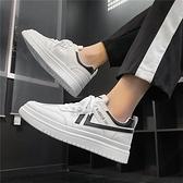板鞋男 男鞋2021新款夏季百搭小白鞋男透氣潮流休閒運動增高ins白色板鞋【八折搶購】