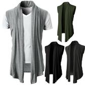 新款個性純色百搭男式休閒無袖針織開衫外套 年底清倉8折