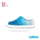 native水鞋 男童鞋 JEFFERSON PRINT 大童 奶油頭 洞洞鞋 休閒鞋 懶人鞋 透氣防水 女鞋可穿 M9417#白藍