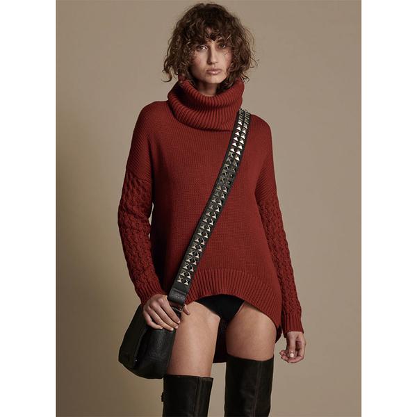 ONETEASPOON WW BLOOD RIDER ROLL NECK KNIT SWEATER 毛衣-女(紅)