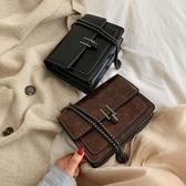 側背包包包女新款韓版百搭潮時尚復古港風小方包單肩斜挎錬條包