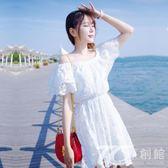 泰國度假甜美一字領露肩抹胸沙灘裙夏季小清新荷葉邊蕾絲連身裙女