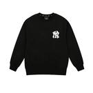 ISNEAKERS MLB NY 塗鴉字體大LOGO 紐約洋基 大學T 衛衣 黑 男女款 韓國官方版