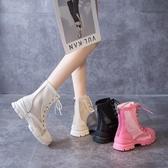 英倫風網紗馬丁靴女2020夏季薄款透氣鏤空涼靴百搭厚底瘦瘦短靴子