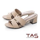TAS鏤空剪裁拼接一字銀飾條粗跟涼拖鞋-優雅膚