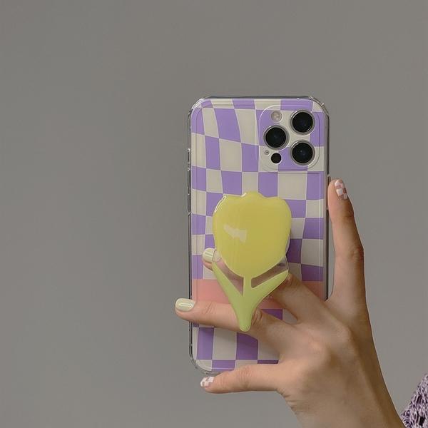 韓風ins紫色格子鬱金香花朵支架蘋果手機殼iphone12/11Promax/Xr/78Plus/Xsmax防摔手機套