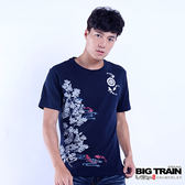 BIG TRAIN 魚游花水木短袖T-男-深藍
