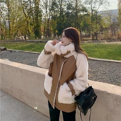 (下殺) 韓版仿皮毛一體外套寬鬆立領設計感中長版拼接鋪棉【08SG05232】