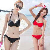艾尼芙瑞韓國鋼托聚攏大小胸女性感黑色紅色比基尼女游泳衣維多  晴光小語