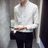襯衫男長袖秋冬季韓版chic潮流修身條紋男士加絨保暖襯衣白色寸衣『櫻花小屋』