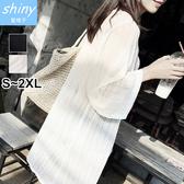 【V1895】shiny藍格子-秋日時尚.透視網紗寬鬆中長款開衫外套