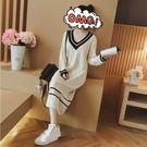 【GZ82】新款韓版長款針織洋裝 寬鬆V...