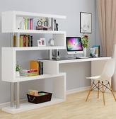 電腦桌 電腦臺式桌子簡約臥室轉角書桌書架組合辦公桌家用書柜一體寫字桌 OB5840