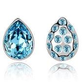 水晶耳環 925純銀(耳針式)-不對稱設計生日情人節禮物女飾品3色73bd110【時尚巴黎】