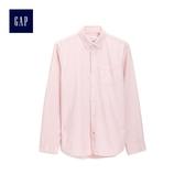 Gap男裝 棉質舒適長袖角扣領襯衫 497184-純粉色