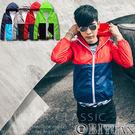 風衣外套【F50086】OBI YUAN韓版搶眼撞色拼接防風連帽外套 共4色