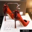 高跟鞋設計感小眾氣質婚鞋女2021年新款新娘鞋紅色結婚細跟名【全館免運】