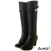 amai皮帶金鎖2WAY顯瘦長靴 黑