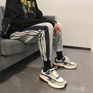衛褲男秋季潮牌褲子條紋九分休閒褲學生哈倫褲ins束腳運動褲