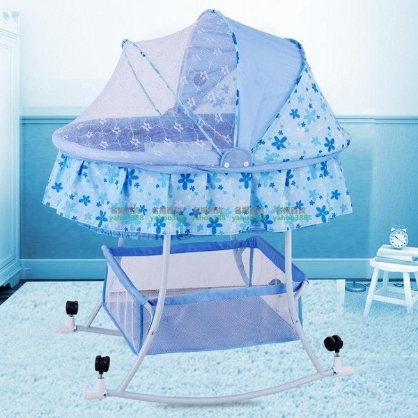 嬰兒搖籃床 多功能寶寶搖床搖籃車 送蚊帳 W百貨66