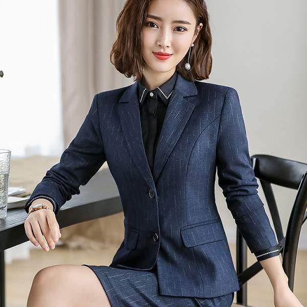 翻領條紋OL短版長袖西裝外套[9S037-PF]美之札