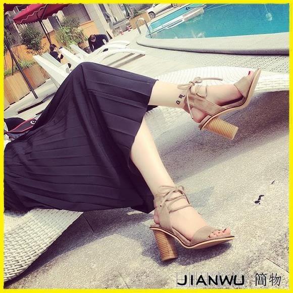 現貨 羅馬風高跟鞋粗跟女鞋露腳趾綁帶復古百搭潮鞋