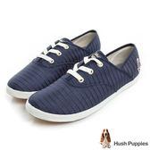 Hush Puppies 低奢緞面咖啡紗帆布鞋-深藍