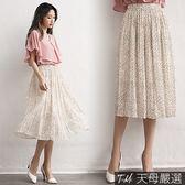 【天母嚴選】不規則點點鬆緊腰壓摺雪紡中長裙(共二色)