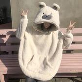 秋冬女裝韓版可愛加厚毛絨小熊連帽睡衣睡褲兩件套學生家居服套裝