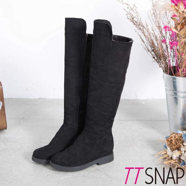 長靴-TTSNAP美腿顯瘦側拉鍊平底過膝靴 黑
