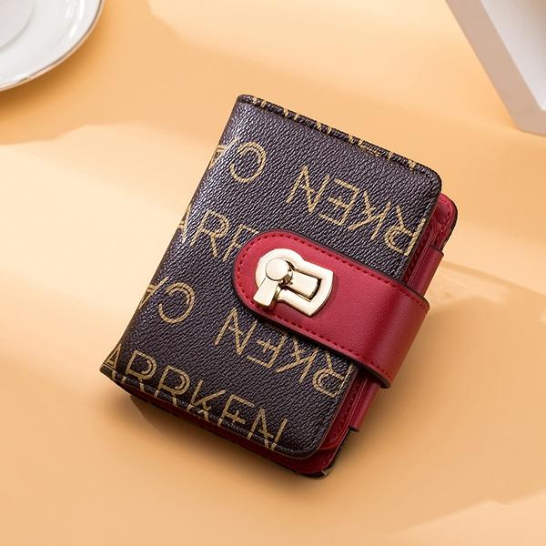 歐美風範短款多功能三折錢包 時尚鎖扣拉鏈零錢包 女士錢包皮夾 女生短夾 女士錢夾 女短款錢包