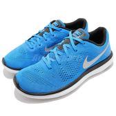 【六折特賣】Nike 慢跑鞋 Flex 2016 RN GS Run 藍 銀 白勾 運動鞋 女鞋 大童鞋【PUMP306】834275-400