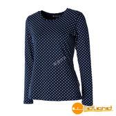【wildland 荒野】女 U領內刷毛時尚保暖上衣『深藍色』0A52661 抗菌 除臭 印花 彈性 豹紋