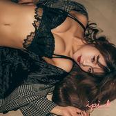 i PINK 大罩杯 瑪麗夢露 獨家半罩蕾絲薄杯成套內衣70B-95G(黑)