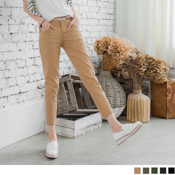 蕾絲點綴皮帶素色水洗直筒九分褲--適 XL~5L OrangeBear《BA2412》