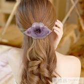 日韓國發飾絹紗花朵發卡名媛淑女盤頭髮夾頂夾邊夾媽媽成人頭飾品  中秋佳節