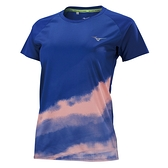 MIZUNO 女裝 短袖 T恤 慢跑 吸汗速乾 反光 聚酯纖維 午夜藍【運動世界】J2TA170315