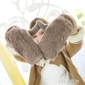 手套 可愛韓版獺兔毛針織手套加絨學生保暖 Ifashion