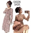 EASON SHOP(GQ0090)韓版復古小碎花收腰大V領抓皺長袖傘狀雪紡連身裙洋裝女上衣服過膝裙A字長裙寬鬆