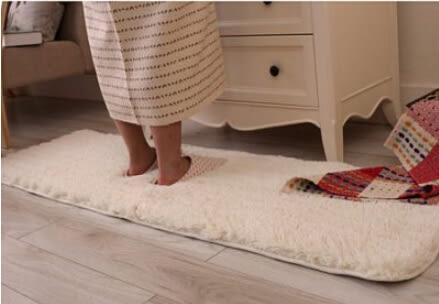 加厚水洗定制地毯純色門墊床邊毯 米白色【藍星居家】