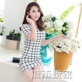 短袖洋裝 女韓版大碼格子OL修身顯瘦印花A字裙 城市玩家