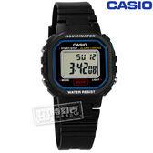 CASIO / LA-20WH-1C / 卡西歐輕巧復古LED計時防水鬧鈴橡膠手錶 黑色 29mm