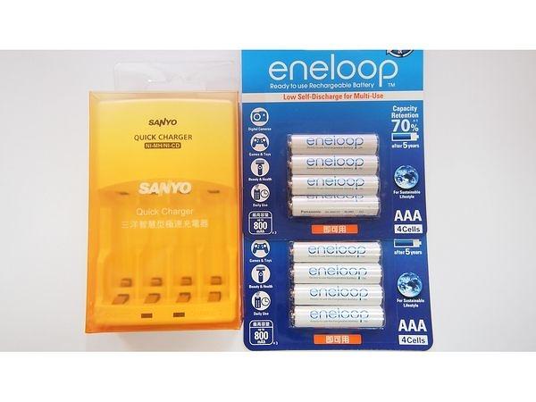 全館免運費【電池天地】SANLUX 三洋智慧型充電器 SYNC-N01 +國際牌 eneloop 4號鎳氫低自放充電電池(8顆)