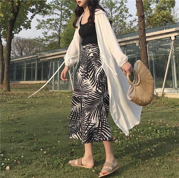 [協貿國際]慵懶風純色薄款雪紡開衫長款防曬衣寬松長袖外套1入