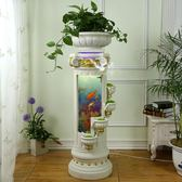 歐式落地噴泉流水擺件創意魚缸加濕器客廳室內家居裝飾品 igo
