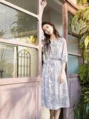 秋裝上市[H2O]可當洋裝跟外罩衫兩穿式印花長洋裝 - 黑/米白/粉色 #9654003